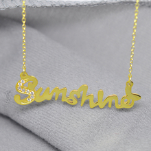 Wholesale Custom Gold Name Necklace Plate With Crystal Sterling Silver Personalized Nameplate Pendent Party Jewelry BFF Gift