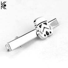 Latest Engravable Star War Stormtrooper Men Ties Clips Gentlemen Classy Necktie Tie Bar Clasp Clip Pin Wedding Tie Jewelry(China)