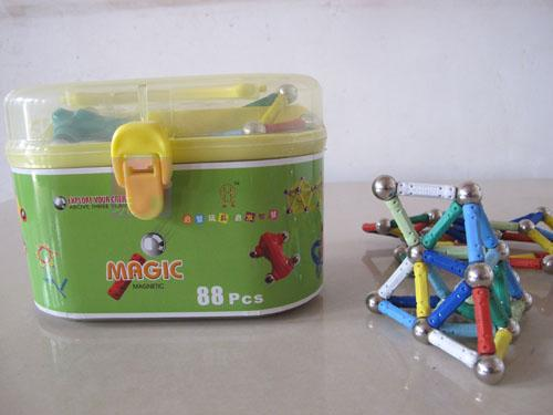 free shipping magnetic stick toy straight rod and ball magnetic building blocks magnetic rods and balls 88pcs<br>