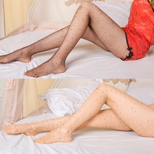 Buy 2017 High Elastic Silk Stockings Sexy Mesh Hollow Tight Stockings Fishnet Pantyhose Seamless Stocking Rhinestones Thin
