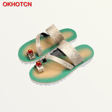 New Crystal Men Summer Sandals Patent Leather Dual-Use Beach Shoes Casual  Cool Print Men S Slippers OKHOTCN 2018 Gold Silver 7272aadd3cec