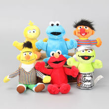New Arrival  6 Pcs/Set Sesame Street Elmo Doll Puppet Plush Toy Christmas Gift 13-18 CM
