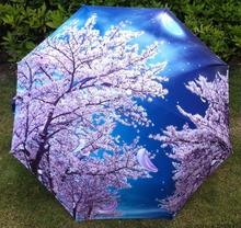 2015 Free shipping Traditional Chinese Oil Painting Umbrella For women Anti-uv 3 Folding Animal Umbrellas cherry blossom flowers(China)