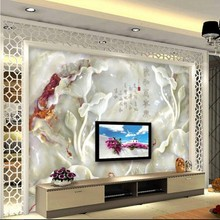 beibehang Wallpapers HD Jade Sculptors and Everything Hing nine fish mural TV living room background home decoration
