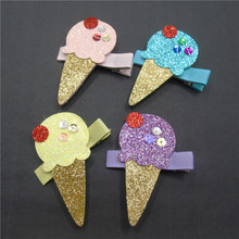 20pc/lot Fluorescent Yellow Glitter Ice Cream Hair Clip Purple Food Hairpin Gift Sequins Summer Ice Lolly Barrette Princess Grip