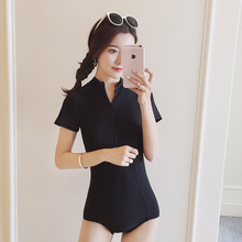 summer new Conservative Short sleeves design slim one Piece swimsuit Sexy black Zipper swimwear lovely women's swimming suit(China)
