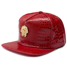 New Black Gold Pharaoh Snapback Caps Red Leather Most Popular Mens Hat Men Women Adjustable Strapback Hats(China)