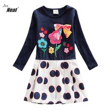 Girl Dresses NEAT Round Collar Cotton Girl Clothing Butterfly Flower Pattern Dot Girl Dress Up Girl Long Sleeve Dress LH5801