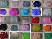 Factory price! 10 m high quality white ostrich feather ribbon, 4-6 inch / 9-15 cm wide, colorful ostrich feathers(China)