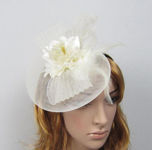 Rose Fabric Flower Feather Veil Fascinator Hair Band Wedding Bridal Hat Veil Head Piece Ivory Black Red etc.