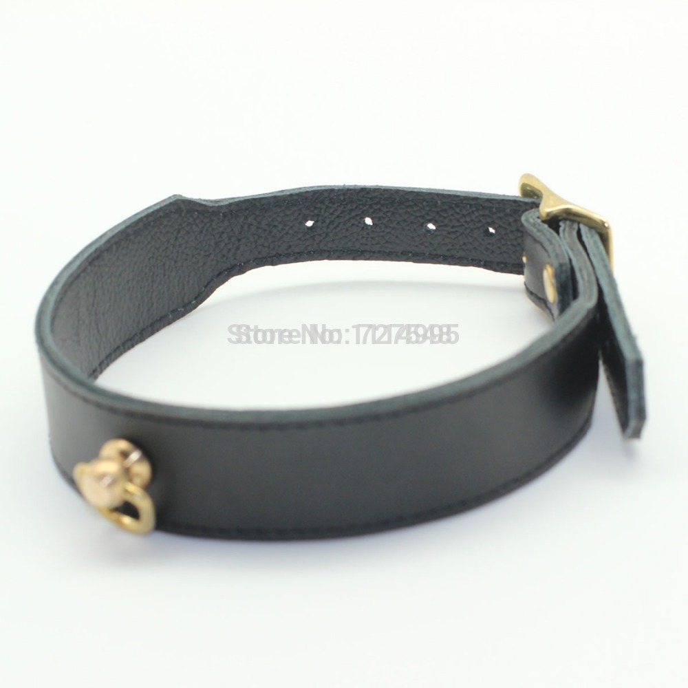 100% handmade Deluxe Leather collar with golden buckles, Top grade thick leather adult restraint collar leather sex products<br>