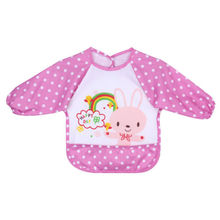 Baby Toddler Waterproof Long Sleeve Bibs Cute Children Kids Feeding Smock Apron(China)