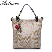 Arliwwi Graceful Embossed Real Leather Shoulder Bags Snake Pattern Tote Handbags with Elegant Tassel B2913