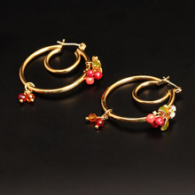 France Les Nereides Enamel Glaze Copper New Trendy Red Cherry Women Earrings Hoop(China)