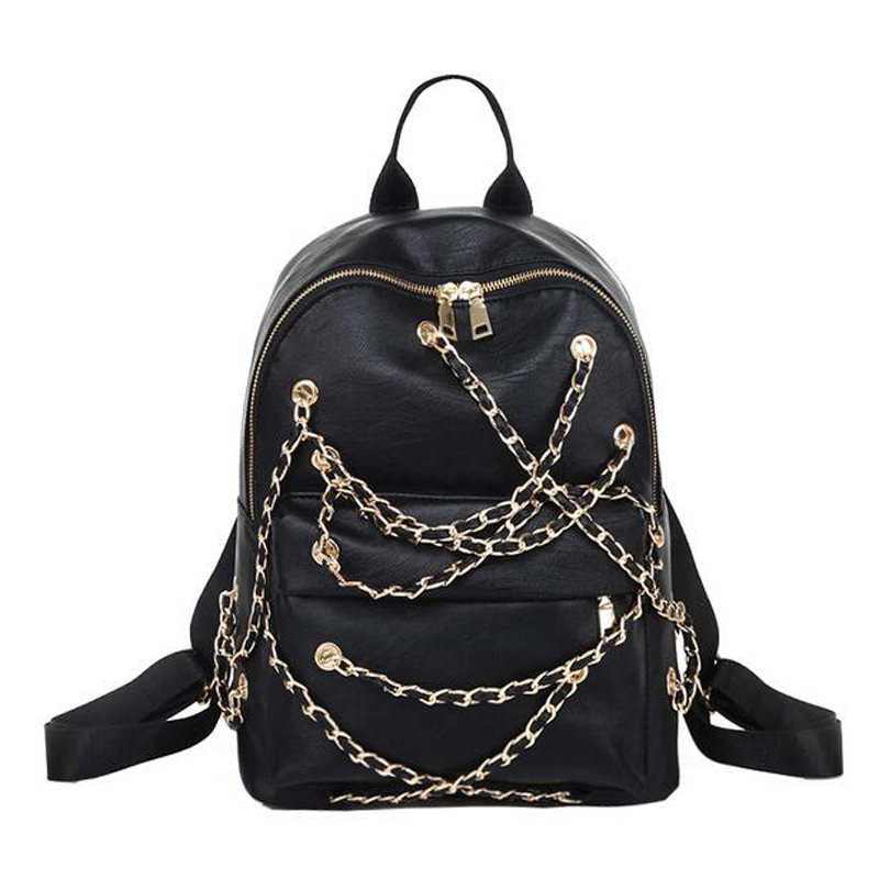 Discount Price New Women Backpack Chain Rock Bag Korean PU Leather Fashion Casual Personality Travel BackpackS<br><br>Aliexpress