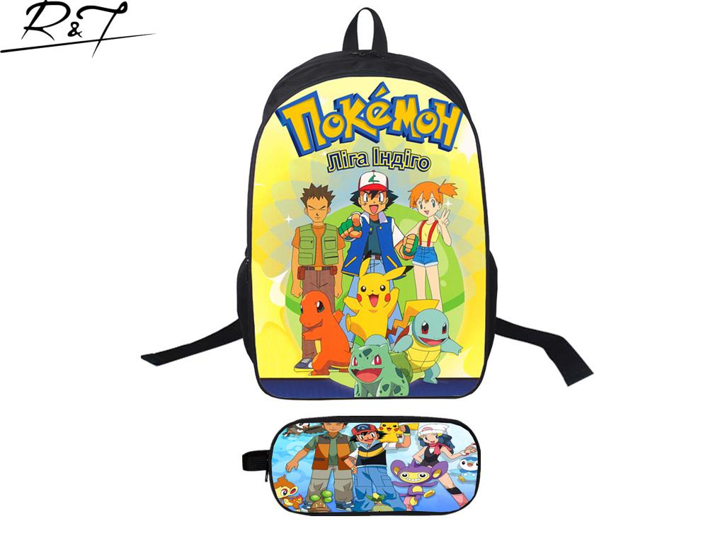 2016 New Arrival Hot Popular 16 Inch Pokemon Backpack With Pokemon Pencil Bag High Quality Fashion Casual Cartoon School Bag<br><br>Aliexpress