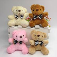 1Pcs 7CM Lovely Plush Sitting Teddy Bear With Stripe Bow tie Urso De Pelucia Oso Dolls cellphone bag key chain