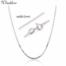 7 Sizes Available Real 925 Sterling Silver Box Chain Necklace Women Men Kids Girls 35/40/45/50/60/70/80cm Jewelry kolye collares