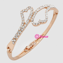 Fashion Hinged Bangles Rhinestone Crystal Double Heart Bangle Bracelet for Women Birthday Gift Jewelry
