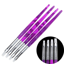 4pcs/set Soft Silicone Fiber Nail Art Brush Acrylic Gel Polish Extender Carving Shaping Clay Sculpture Modeling Painting Pen Kit(China)