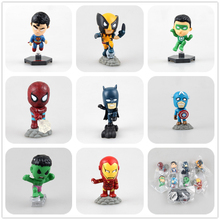 SAINTGI  Captain America 3 DC SUPERMAN BATMAN Green Lantern Hulk iron Man X-men Spider-Man 5cm Avengers Model Toy Gift Marvel