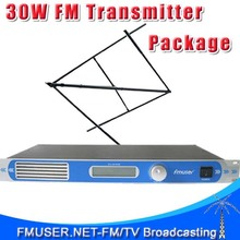 FMUSER FU-30/50B CZH-T501 CZE-T501 30W 0-30w power adjustable FM radio broadcaster+Circular Polarized antenna kit(China)