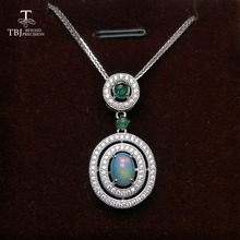 TBJ,Natural Good quality Ethiopian Opla and Green Emerald Gemstone Pendant silver chain classic design for women gift with box(China)
