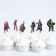 24pcs/lot The Avengers Captain America Heros Theme Party Supplies Cartoon Cupcake Topper Kids Boy Birthday Party Decorations