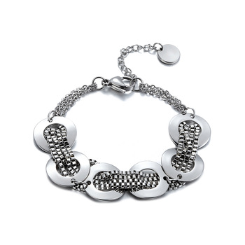Hot Sale New Style Brand Women Jewelry Silver Circles Charm Bracelets & Bangles Snake Chain Bracelets For Women And Girl Pulsera