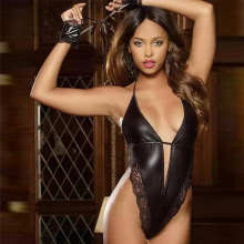 Dower Me Sexy Vinyl Leather Teddy Lingerie 2015 Fashion Black Bodysuit PVC Teddy S,M,L,XL W146579