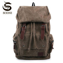 Hot Casual Men Canvas Travel Backpack Men s Vintage Student School Bag Big  Laptop Rucksack Canvas Drawstring 4f51bdcc745d0