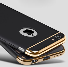 3 in 1 Removable case Gold Hard Case For iphone 6 6S 5 5S SE Back Cover Coverage Fundas Case For iphone 6S 6 6sPlus 6Plus(China)
