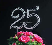 "Free Shipping Large Diamante Rhinestone Crystal Letter ""25"" Cake Toppers For Wedding Birthday Party Decoration 1pcs"