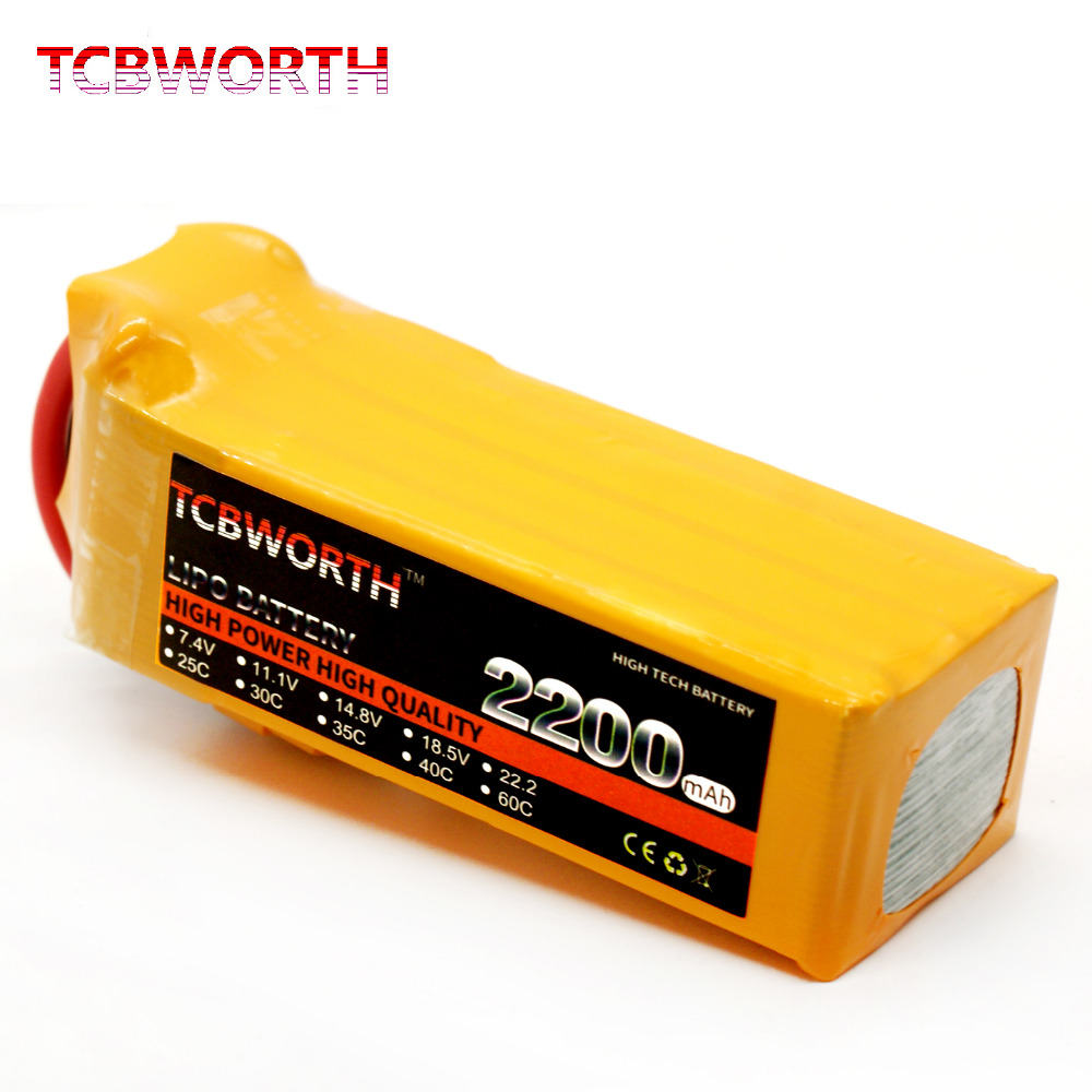 TCBWORTH RC LiPo Battery 22.2V 2200mAh 40C 6S for RC Airplane Drone Car Boat<br>