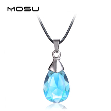 MOSU 12/pcs/lot Hot Anime Sword Art Online Metal Necklace Blue Crystal Pendant Cosplay Accessories Jewelry can Drop-shipping(China)