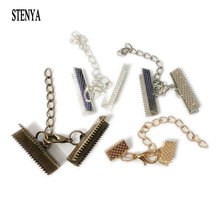 STENYA Crimp End Beads Cover Lobster Clasps Jump Ring Extended Extention Chains Necklace Flat Leather Cord Foldover Connectors