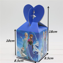 10pcs  Anna Elsa Cartoon Paper Candy Box Chocolate Boxes Souvenir Bag Girl Kids Birthday Party Decoration Sweet Gifts Supplies
