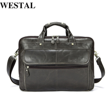 WESTAL Genuine Leather Men Bags Business Laptop male bags Men's Briefcase casual Tote Shoulder Handbag Men's travel bag 8897