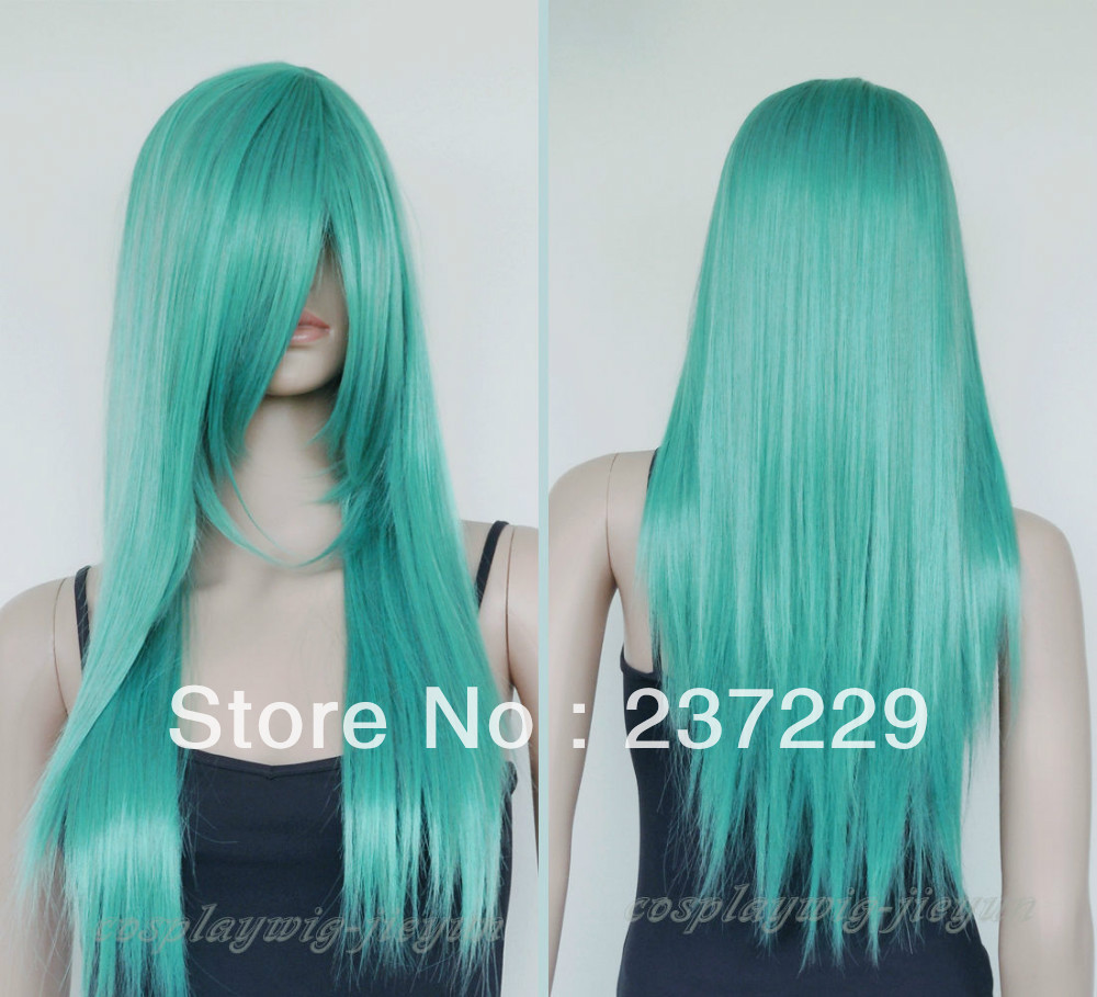 Wholesale price FREE SHIPPING ^^^^Fashion AQUA Blue Green &amp; Grey Mixed Long Layer Straight Cosplay Anime Wig 26<br><br>Aliexpress