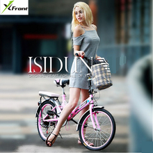 New X-front brand 20 inch carbon steel frame aluminum bar folding bike student lady's BMX bicycle 6 speed bicicleta(China)