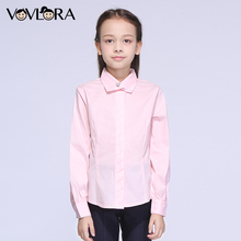 Shirt Girls Formal Cotton Long Sleeve Turndown Collar Button Kids Shirts School Girls Clothes spring Size 9 10 11 12 13 14 Years(China)