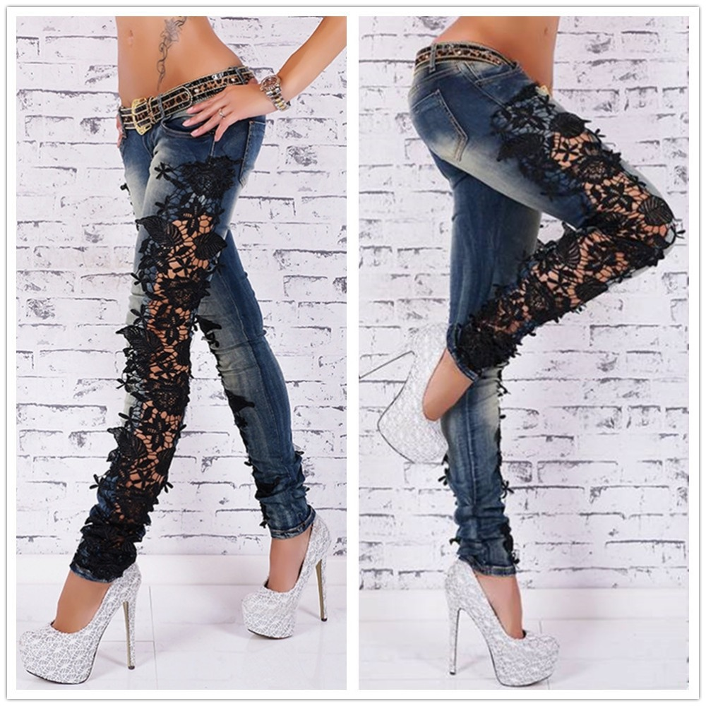 New 2017 Summer Style Women Jeans Pants High Waist Denim Skinny Crochet Side Lace Ripped Pencil Jeans Dark Blue Bodycon JeansОдежда и ак�е��уары<br><br><br>Aliexpress