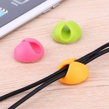 2 In 1 Tidy Wire Drop Lead USB Charger Cord Holder Cable Wire Organizer Winder Pen holder Double Holes Clip Fashion Protective