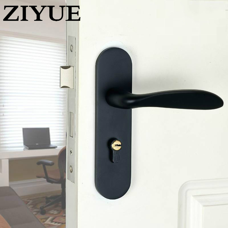 Free Shipping Security Space Aluminum Simple  Black  Bedroom Interior Mute Mechanical  Room Door Lock<br>