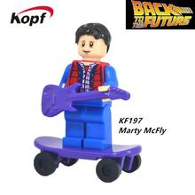 Building Blocks Super Heroes Back To The Future Doc Brown and Marty McFly With Skateboard Wolverine Toys for children Gift KF197