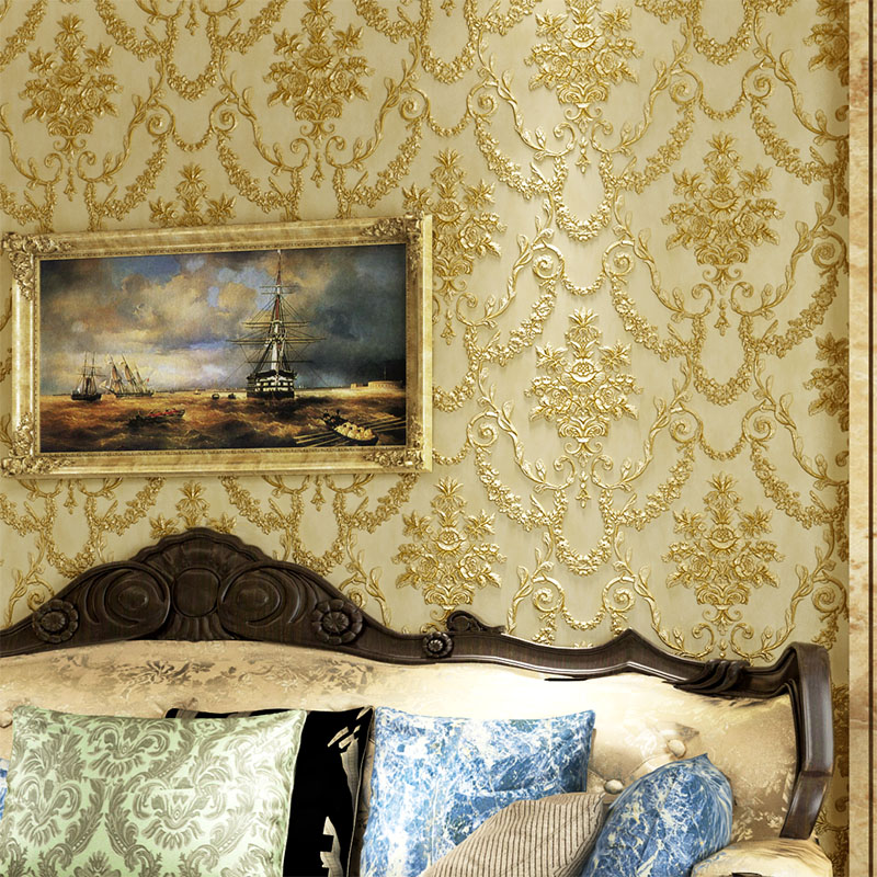 European Style Deep Embossed 3D Wallpaper Living Room TV Sofa Bedroom Background Wall Covering Luxury Wall Paper Papel De Parede<br>