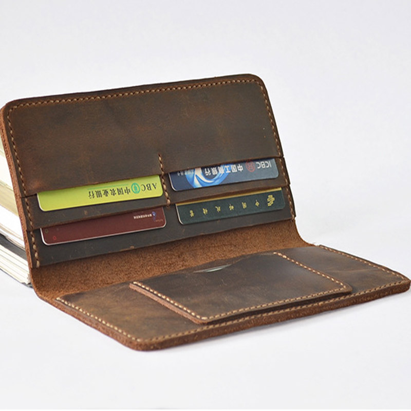 handmade designer men wallets long genuine leather wallet top leather crazy horse vintage male purse drivers license wallet <br>