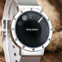 PAIDU Simple Men's Watches Black/White Dial Metal Iron Mesh Steel Band Turntable Wrist Watch Women Girl Lady Clock Best Gift