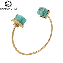 New Open Natural White Green Cube Shape Cuff pulseiras Bangles Bracelets Femme for Women Summer Charm Jewelry(China)