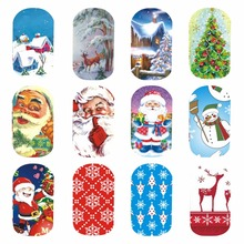 WUF 1 Sheet Optional Christmas Design Nail Art Water Transfer Sticker Decal For Nail Art Tattoo Tips DIY Tools(China)